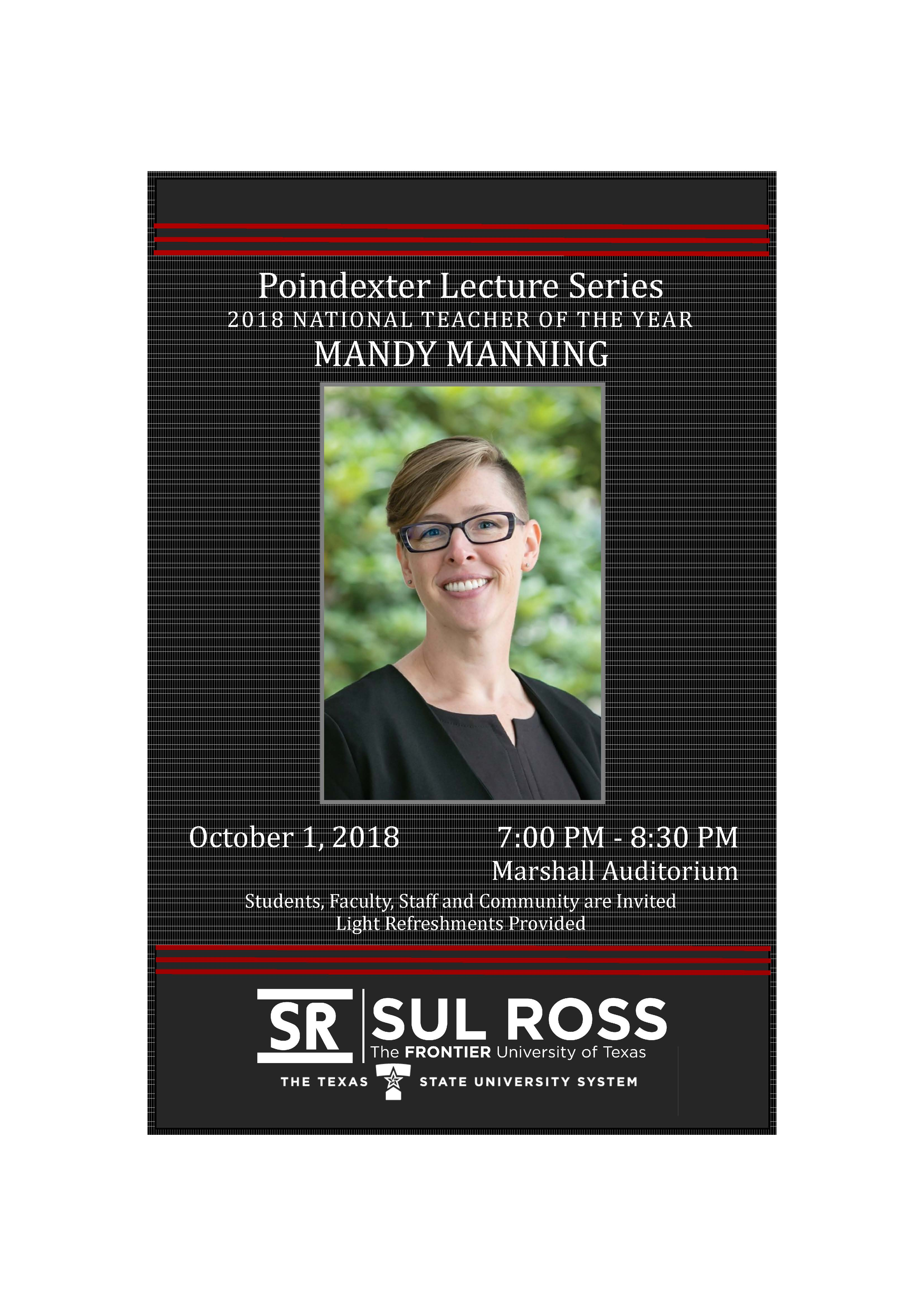 Educators Invited to Poindexter Lecture Series 2018 NATIONAL TEACHER OF THE YEAR with MANDY MANNING