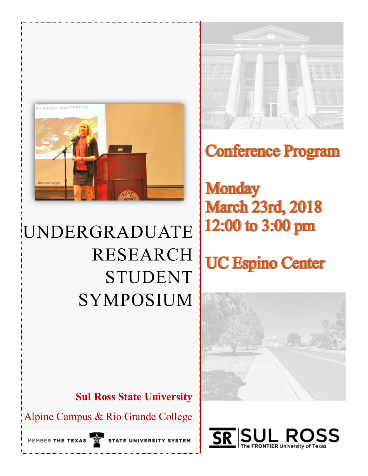 Cover page for Sp18 Symposium Program